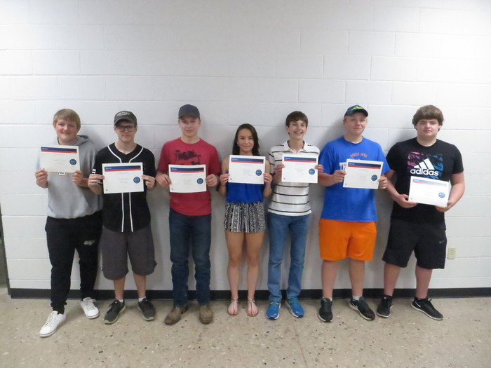 CSWA students:  Left to right:  Braydon Hottenstein, Matthew Schrauth, Kegan Bartell, Amber Kutsche, Joesph Krahn, Trevor Engel, Chris Zimdahl. Missing from picture: Kallen Ferguson