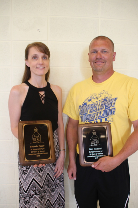 20 years of service award: Shanda Cerny and Dan Heisdorf.  Not pictured Nancy Flood.