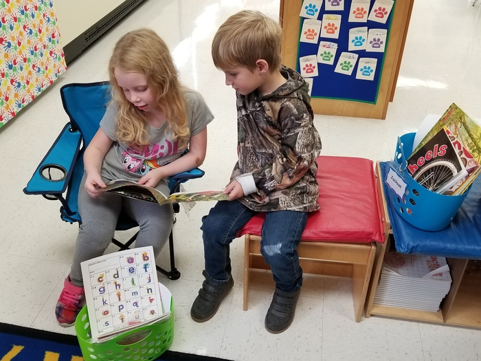 Kindergarten Students Enjoy Reading to One Another