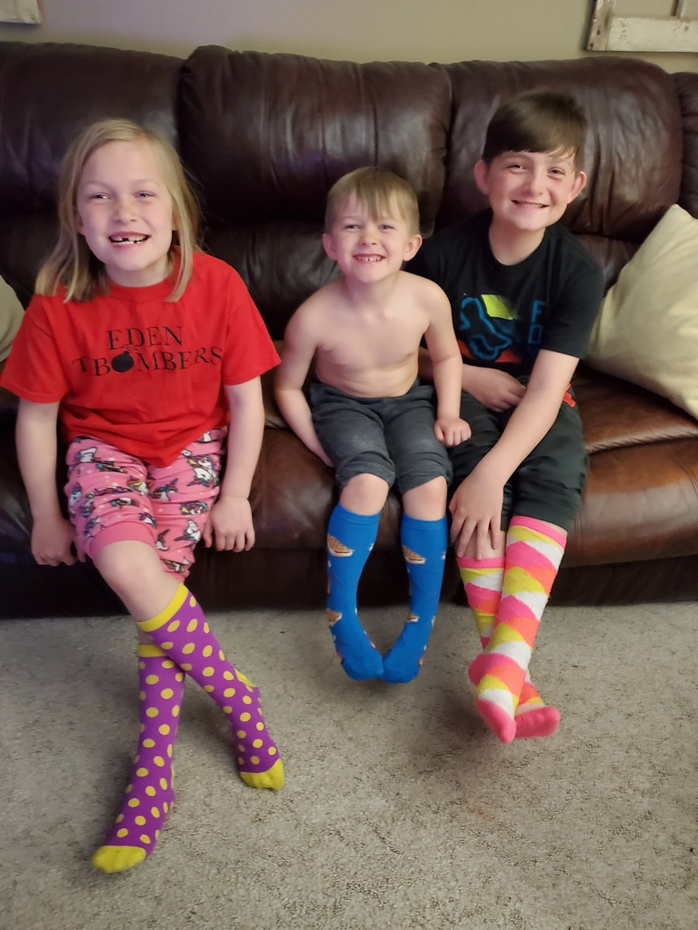 Showing off their crazy socks!